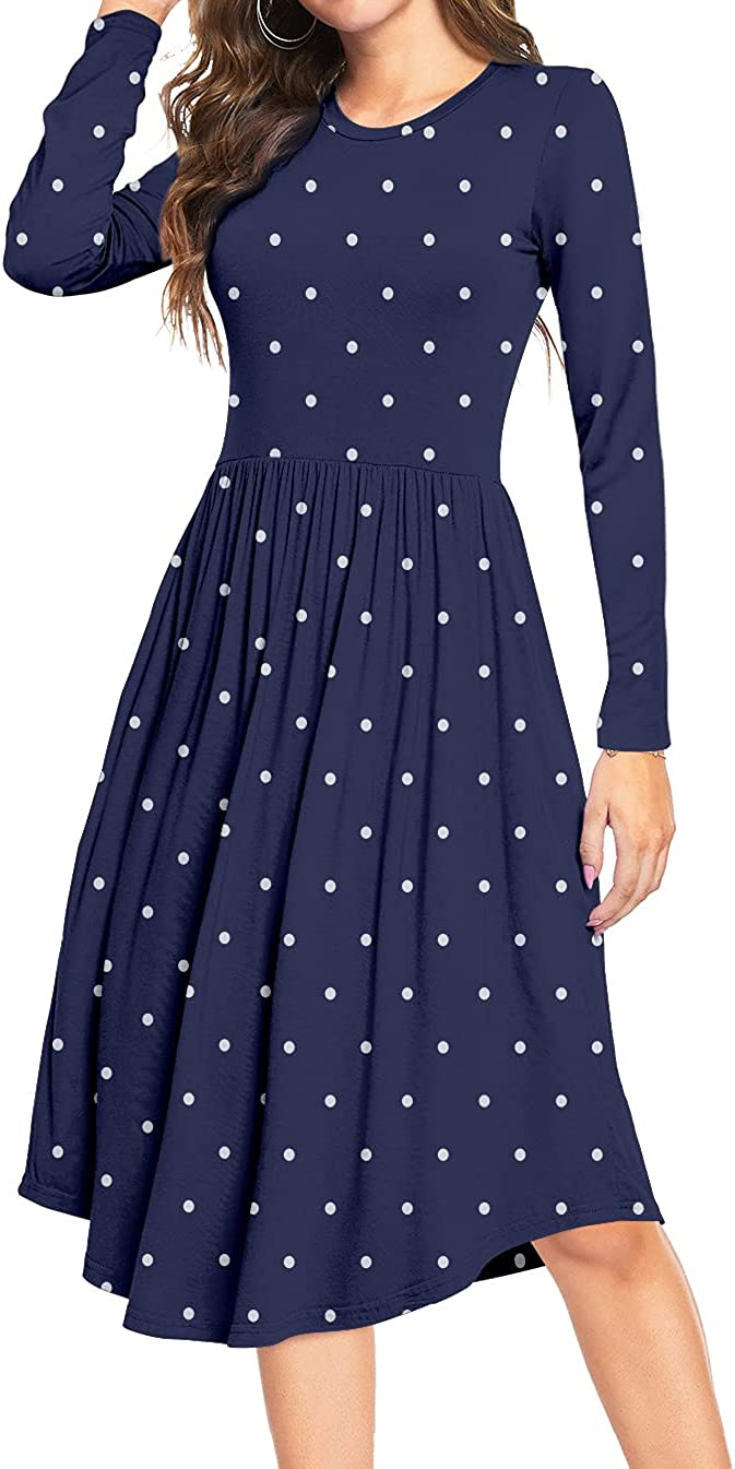 YUNDAI Women Short Sleeve Polka Casual Pleated Pockets Dot Swing Cheap Limited time trial price bargain
