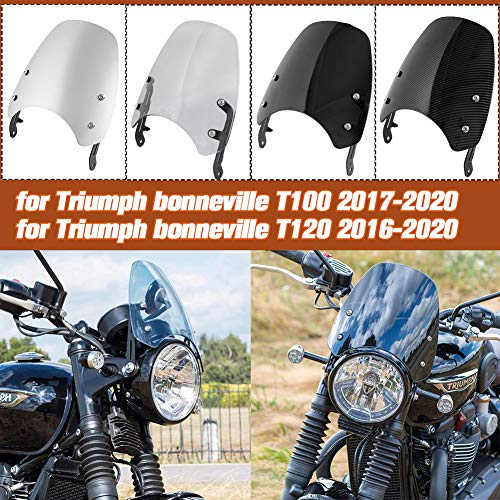 Lorababer Parabrisas de motocicleta Pare-brise para T-riumph Bonneville T100 T120 Deflectores de viento parabrisas T 100 T 120 Accesorios (Fumar)