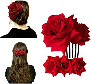 Xetahomyx 2 Pack Velvet Rose Hair Clip Flower Hair Comb Flamenco Dancer Hair Accessories for Women Wedding, Red