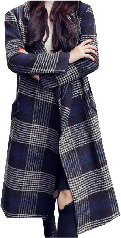 Tryist Women Waterfall Plaid Overcoat Trench Woolen Baggy Overcoat Outwear