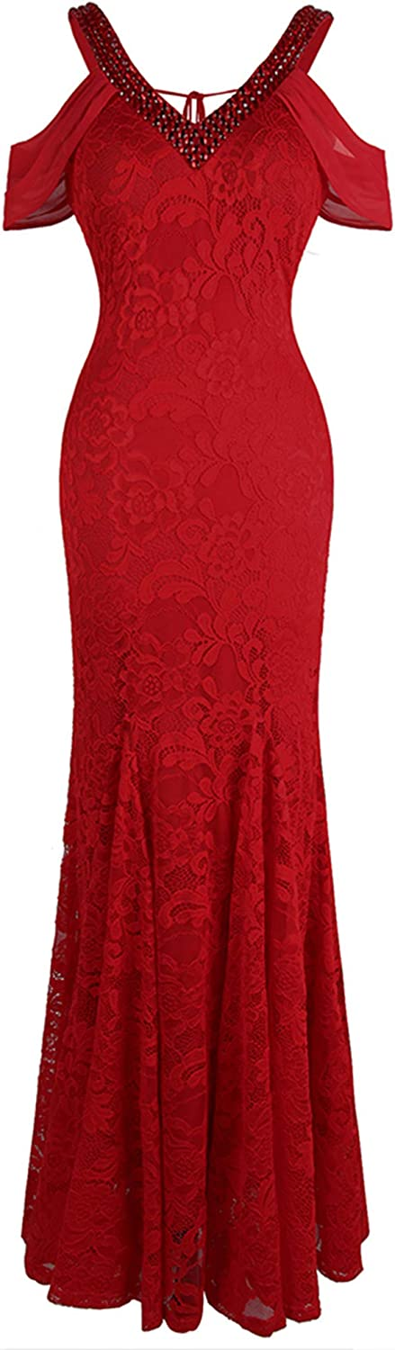 Angel-fashions Women's V New Orleans Mall Neck Large special price Off Floral Shoulder W Lace Mermaid
