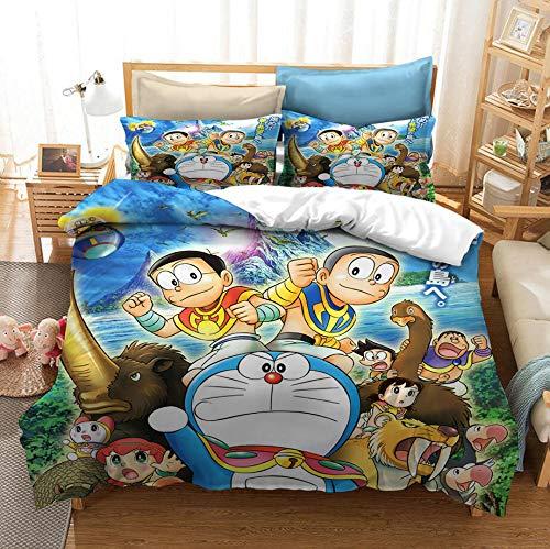 ZKDT Doraemon Fashion Fun - Juego de ropa de cama infantil de microfibra (3 unidades), Diseño 7, 200 x 200 cm