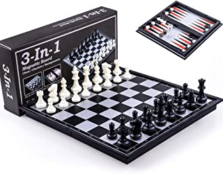 Kids or Adults Chess Board Game Travel Folding Magnetic Chess & Checkers & Backgammon Chess 3-in-1 Set,Chessmen and Backgammon Shared