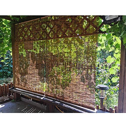Bambusrollo Aussenbereich Wasserfest,Aus Schilf,Retro-Raffrollo, 70% UV-Block, Sonnenschirme, Sichtschutz, Lichtfilterung, Für Deck/Pergola/Pavillon,W110xH153cm/43x60in