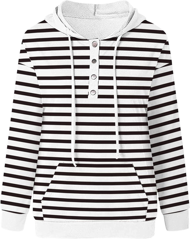 Womens Hoodies,Womens Drawstring Shirts Pocket Pullover Long Sleeve Casual Hooded Button Down Hoodies Sweatshirts
