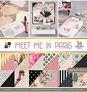 DCWV Card Stock 12X12 Stack Meet Me in Paris, 36 Sheets