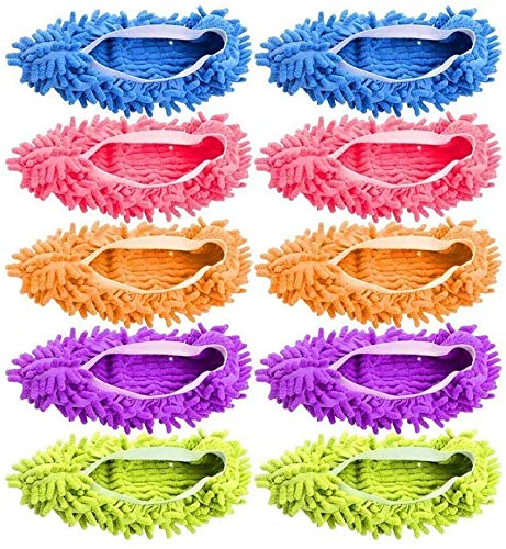 10 Pieces Microfiber Mop Slippers Shoes Cover Soft Washable Reusable