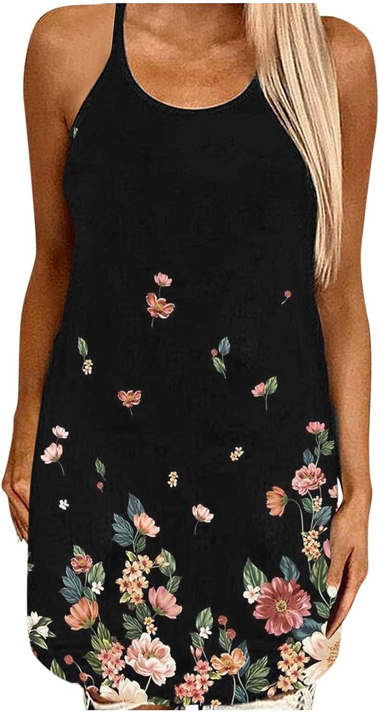 EZ Tuxedo Dresses for Women Summer O Neck Print Loose Sleeveless Sling Slim Tank Tops Hollow Out Sexy Dress