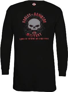 HARLEY-DAVIDSON Military - Men's Black Long-Sleeve Skull Graphic Thermal Shirt - Overseas Tour | G Skull