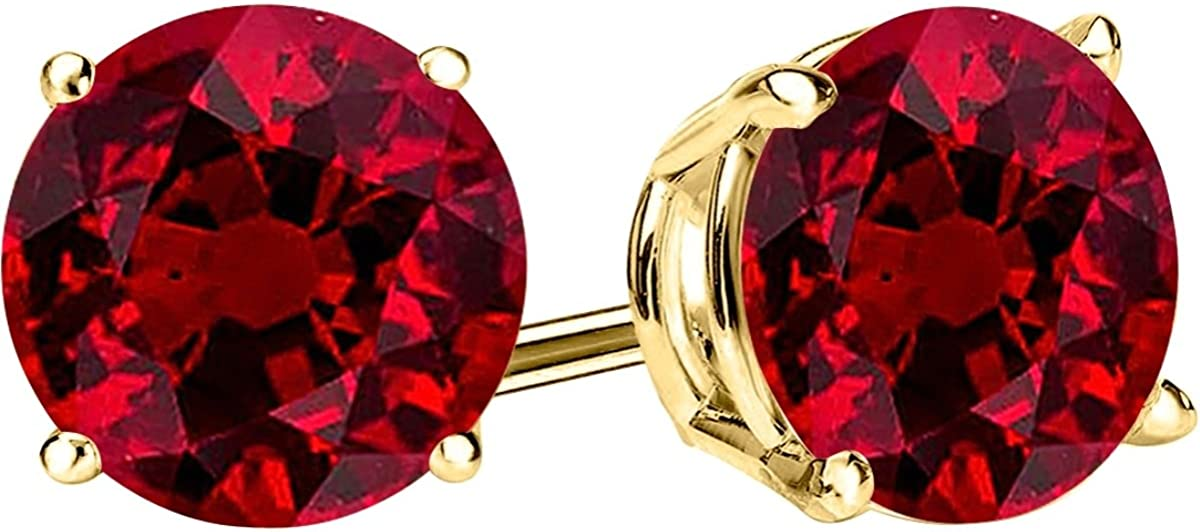 1/2-10 Carat Total Weight Natural Ruby Stud Earrings 4 Prong Push Back