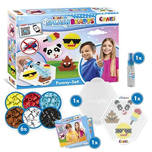 CRAZE Kinderbeschäftigung Splash BEADYS Funny Bügelperlen ohne Bügeln Beginner Bastelset Smiley Panda EIS 32466, mehrere Farben im Set