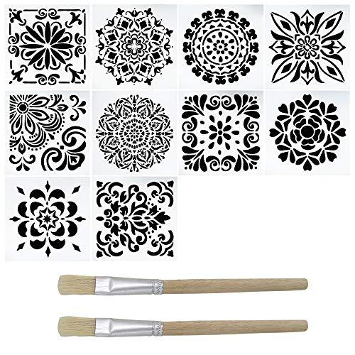 YuCool - Juego de 10 plantillas de pintura, cortadas con láser, reutilizables, con 2 pinceles para decoración del hogar, pintura en madera, suelo, aerógrafo, azulejos, rocas, paredes, tela, muebles