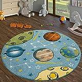 TT Home Alfombra Infantil Juegos Habitación Infantil Pelo Corto Pastel Planetas Universo, Größe:Ø 160 cm Redondo