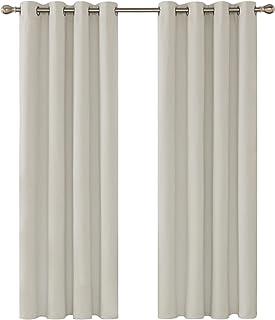 Deconovo Cortinas Opacas Salon Térmicas Aislantes Frío y Calor de Salón Dormitorio Moderno con Ojales 2 Piezas 132 x 160 cm Beige Claro