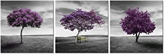 Pyradecor 3 Piece Purple Trees Canvas Prints Wall Art Fall Forest Pictures Paintings for Living Room Bedroom Home Office Decorations Modern Stretched and Framed Landscape Giclee Artwork