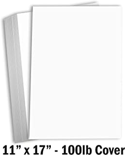 Hamilco White Cardstock Thick 11x17 Paper - Heavy Weight 100 lb Cover Card Stock 50 Pack (100lb Cover)
