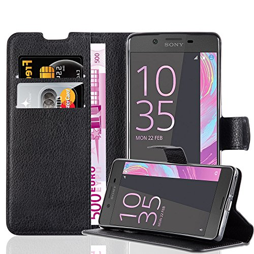 Cadorabo Hülle für Sony Xperia E5 in Phantom SCHWARZ - Handyhülle mit Magnetverschluss, Standfunktion & Kartenfach - Hülle Cover Schutzhülle Etui Tasche Book Klapp Style