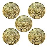 マヤ文明 アステカカレンダー コイン メタル 記念 アートコイン 直径40mm (ゴールド) 5個入り