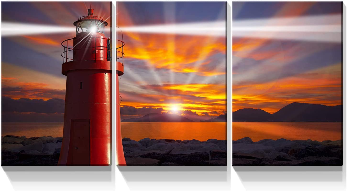 Denozer - 3 Piece Canvas Wall Soldering in Prints The Lighthouse Red Large special price !! Art