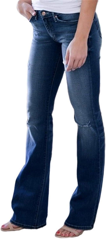 Beppter Women's Plus Size High Waist Wide Leg Long Stretch Denim Regular Pants Casual Pocket Jeans