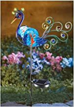 CT DISCOUNT STORE Solar lighted Multicolor Peacock Decorative Metal Garden Stake Out Door Decor