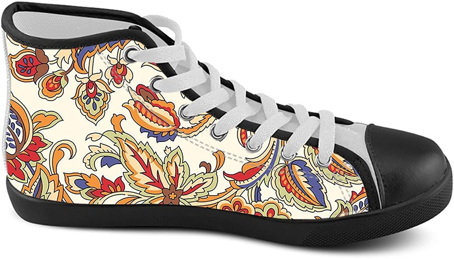 High Top Canvas for Women, Floral Classic Canvas Sneakers, Printed shoes for Women