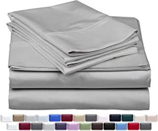 True Luxury 1000-Thread-Count 100% Egyptian Cotton Bed Sheets, 4-Pc King Silver Sheet Set, Single Ply Long-Staple Yarns, Sateen Weave, Fits Mattress Upto 18`` Deep Pocket