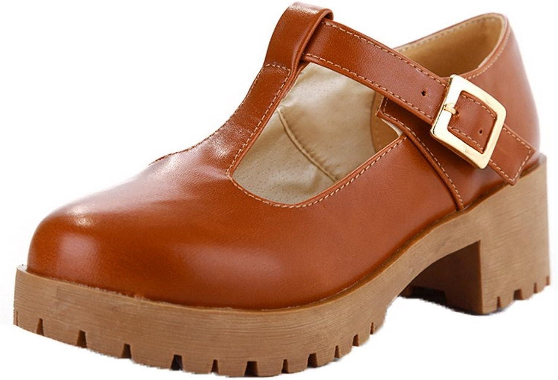 AmoonyFashion Women's Closed Toe Kitten-Heels Solid Buckle Sandals