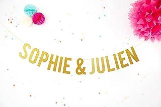 Bannière mariage prénoms mariés Guirlande personnalisable noms fiancés Décoration lettres paillettes or enterrement de vie...