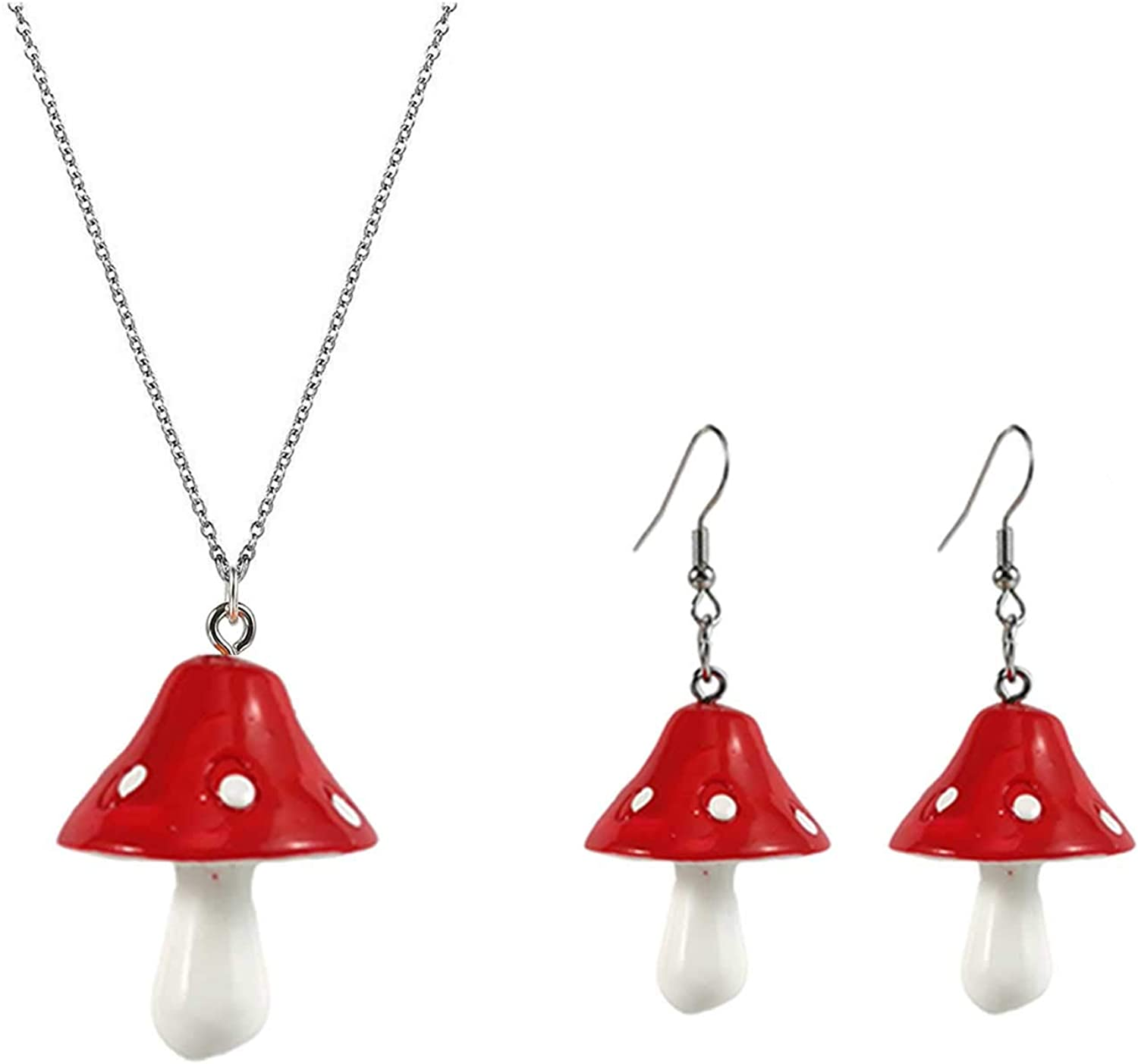 Cute Colorful Mushroom Dangling Earrings Necklace Set Handmade Gummy Mushrooms Necklaces Rainbow Colored 3D Vegetables Jewelry Chains for Women Girls Daughters