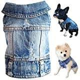 Strangefly Dog Jean Jacket, Blue Puppy Denim T-Shirt, Machine Washable Dog Clothes, Comfort and Cool Apparel, for Small Medium Dogs Pets and Cats (Medium, Blue Type 1)