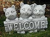 Beton Figur 3 Katzen klein mit Schild Welcome H 20 cm Dekofigur und Gartenfigur