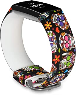 Cute Bands Compatible with Fitbit Charge 3 & Charge 3 SE, Women Men Floral Replacement Strap Accessories Wristband Small Large for Fitbit Charge 3