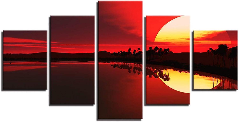 QWD&XSD Decoración Modernos Estampaños Arte de la parojo 5 Piezas Cielo rojo Lago Bosque Paisaje Paisaje Cuadros Cuadros Cuadros modulares Lienzo, 30x40 30x60 30x80cm, Sin marco