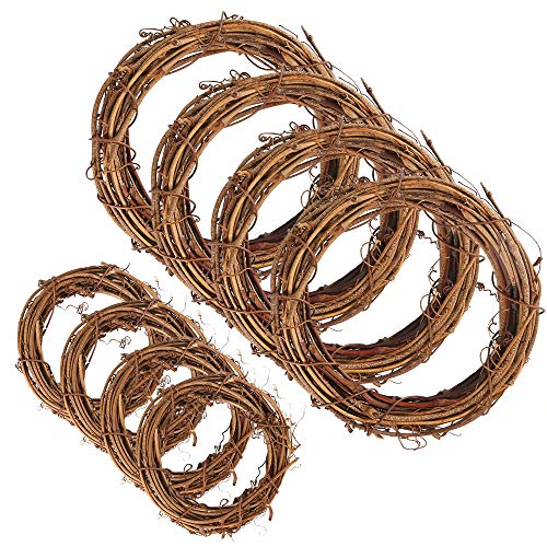 Sntieecr 8 Pieces 2 Sizes Natural Grapevine Wreaths Vine Branch Wreath Garland for DIY Christmas Craft Rattan Front Door Wall Hanging Holiday Party Decors (8 & 12 cm)