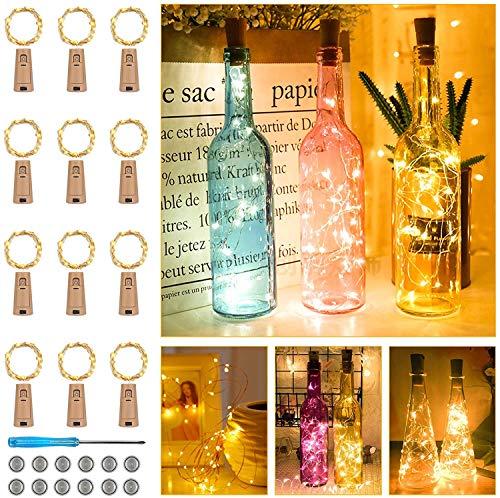 【12 Stück】Flaschen Licht Warmweiß, 25 LEDs 2.5M Lichterkette für Flasche Lichterketten Kork Weinflasche Kupferdraht batteriebetriebene für Flasche DIY Weihnachten Hochzeit und Party Dekor