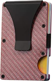 Metal Minimalist Wallet for men with Money Clip - Slim Wallet Credit Card Holder RFID Blocking, Aluminum (Carbon Fiber Pink)