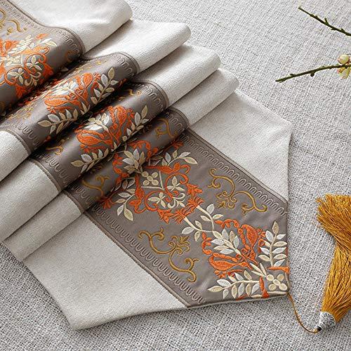 KRXLL Tischläufer - Orange - gestickter Damast-Jacquard - rutschfestes Futter - 100% Polyester - 35 x 240 cm-Orange_30 * 240 cm