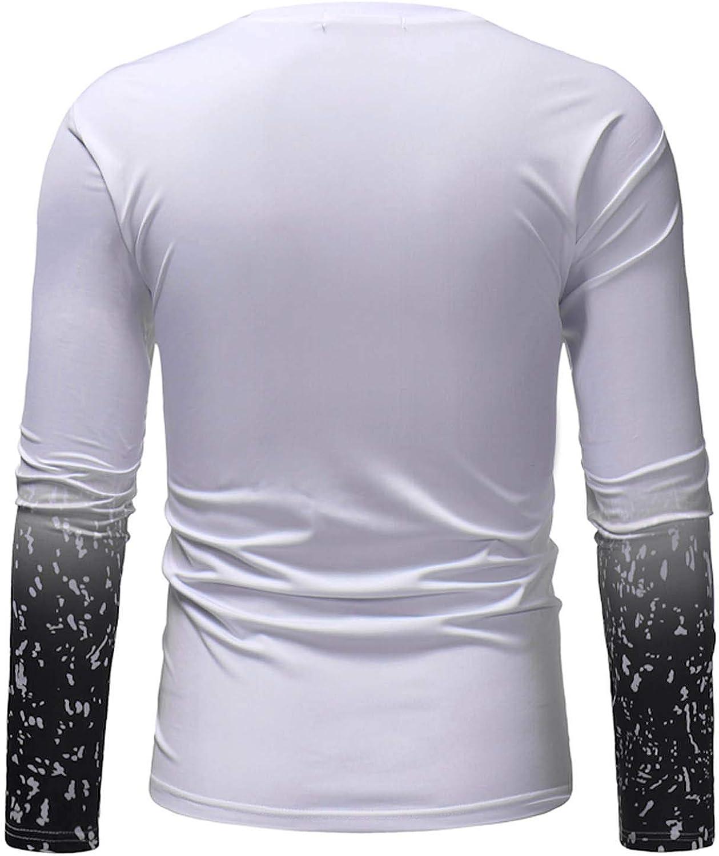 Mens Tie Dye Tops Long Sleeve Fall Pullover Crewneck Regular Fit Sweatshirt Lightweight Tops for Men