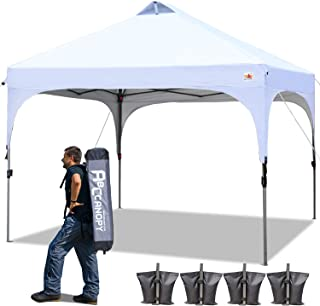 ABCCANOPY 10 x 10 Canopy Tent Pop-Up Compact Instant Shelter Portable Shade Canopy Popup Tents Outdoor with Wheeled Carry Bag Bonus 4 Weight Bags, 4 x Ropes& 4 x Stakes, White