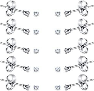 2-4MM Tiny Women's Stainless Steel Round Clear Cubic Zirconia Stud Earrings(10 Pairs)