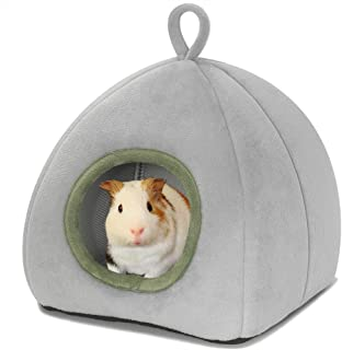 MRTIOO Guinea Pig Cave Bed, Hamster Hedgehog Nest Hideout, Small Animals Cage Supplies Warm House, Machine Washable - Pyra...