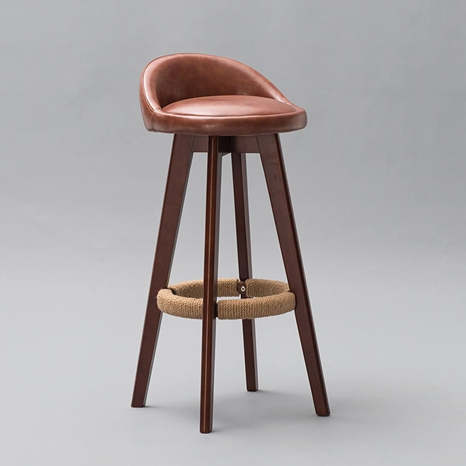 GJM Shop Bar Stool Retro Solid Wood Frame 360 ° redate Household Products Kitchen Breakfast Chair Easy to Move (color   C)