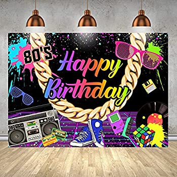 80 S Happy Birthday Party Backdrop Hip Hop Rock Punk Music Disco Retro Adult Birthday Background Back to 80 s Theme Photography Banner Colorful Spots Golden Necklace Radio Decoration 7x5ft