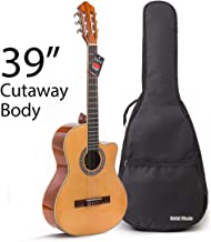 Cutaway Classical Guitar with Savarez Nylon Strings by Hola! Music, Full Size 39 Inch Model HG-39C, Natural Gloss Finish - FREE Padded Gig Bag Included
