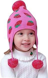 Happy Cherry - Bebé Sombrero de Punto Invierno Beanie Gorro con Orejeras Forro Suave Infantil Knit Hat Caliente para Niño Niña 6 Meses-8 Años