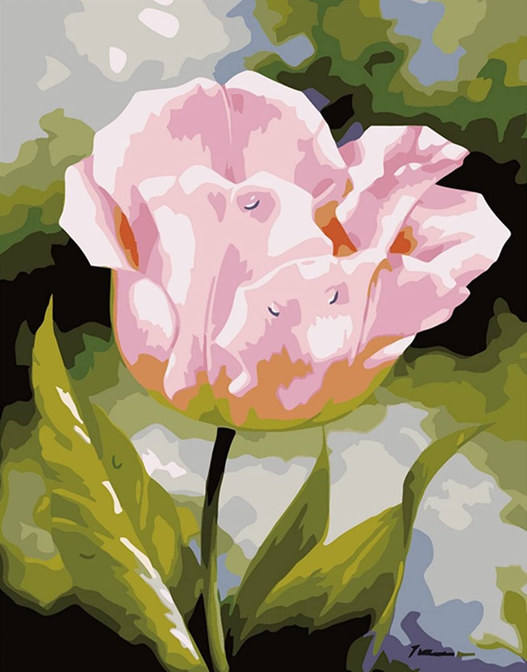 CaptainCrafts New Paint by Number Kits - Pink Flowers 16x20 inch Frameless - Diy Painting by Numbers for Adults Beginner Kids