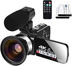 Video Camera with Microphone YouTube Camera for Vlogging 4K Webcam 30FPS 16X Digital Zoom Recorder Video Cameras 3.0 Inch ...