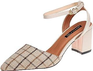 d96cd9ce1901c Sandales Femmes Talons Sexy Mode Pas Cher Talon Carre A Carreaux Vintage  Chaussure De SoiréE Parfait