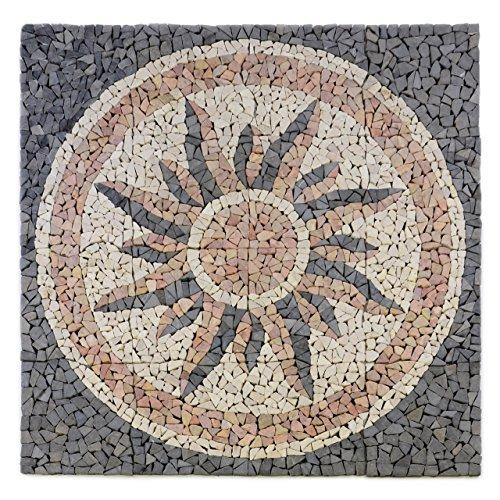 Divero Fliesen Rosone Sonne Naturstein Mosaik Marmor dekorativ grau-rosé-creme 120 x 120 cm